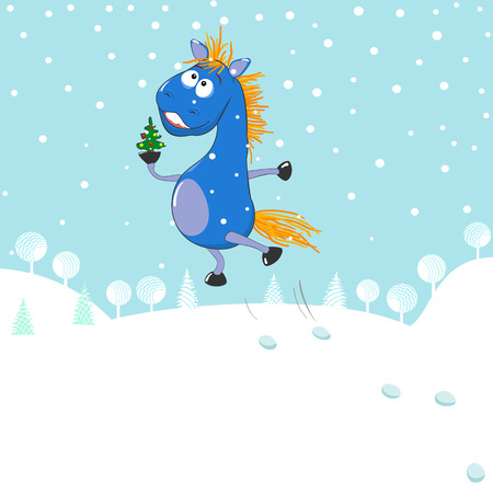 A small blue horse with a Christmas tree on a winter background