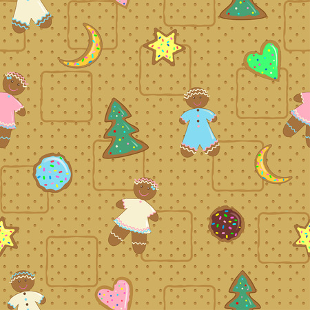 Gingerbread Man and Christmas cookies baking in the background Vector