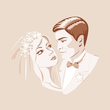 The bride and groom look at each other Illustration