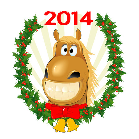 Funny horse with a Christmas wreath, a symbol of the New Year Illustration
