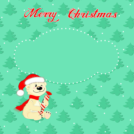 Greeting Christmas card with a little polar bear on the background of trees