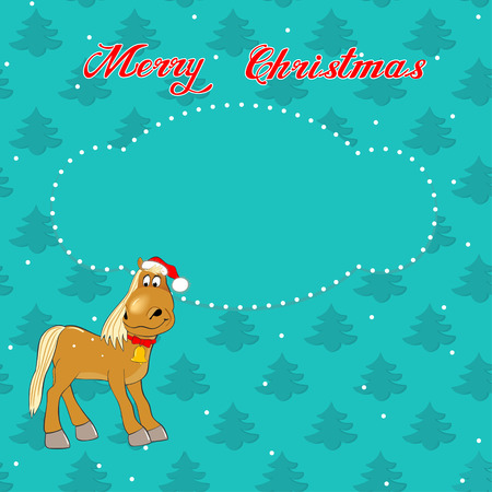 Greeting Christmas card with a horse on the background of trees Illustration