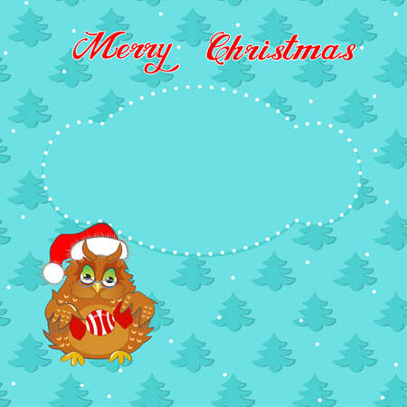 Greeting Christmas card with a owl on the background of trees Illustration
