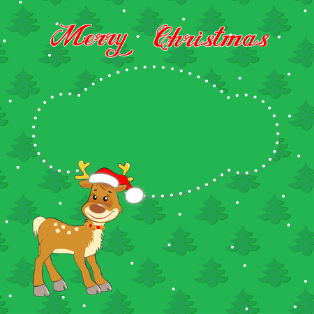 Greeting Christmas card with a little  deer on the background of trees