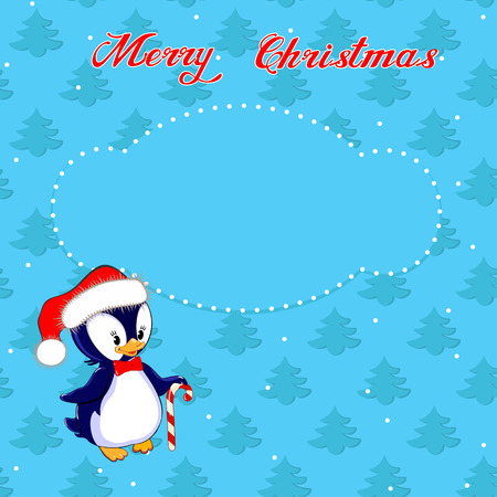 Greeting Christmas card with a little penguin on the background of trees