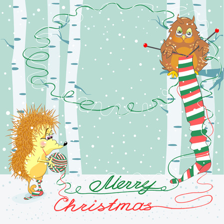 Greeting Christmas card with an owl and hedgehog, where you can put your text