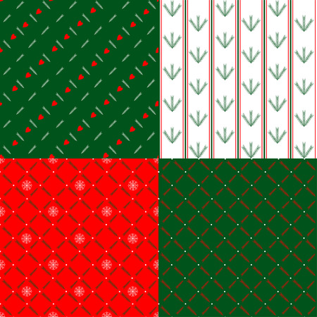 A collection of Christmas wrapping papers, 4 seamless pattern. Illustration