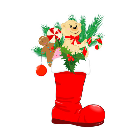 Red Christmas boots with gifts and treats on an isolated white background