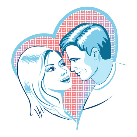Woman and a man who loves each other on the background of hearts.  The idea of design element for dating services, or Valentines Day. Illustration