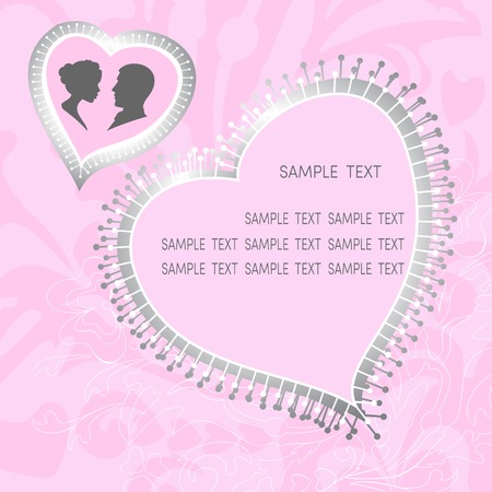 Grunge floral ornament and pink Valentine hearts with silhouette of a pair of lovers, where you can put your text