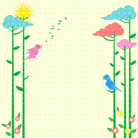 Retro background Greeting Card with birds and fancy trees, where you can put your text