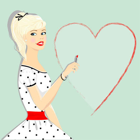 Pin_ap beautiful blonde girl with a heart drawn in lipstick, where you can put your text