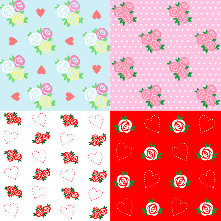 Set of four seamless floral pattern with roses and hearts Illustration