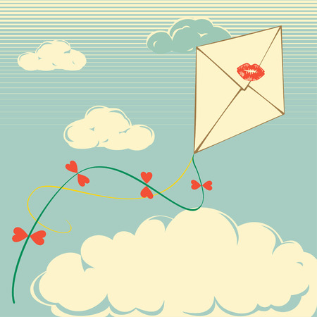 Retro kite envelope flying in the cloudy background  Use as background or retro postcard where you can write your text