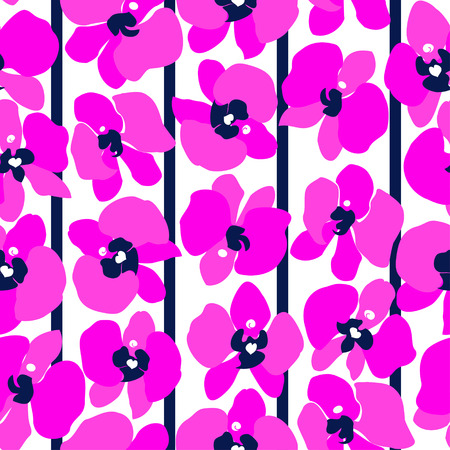 Magenta orchids and blue stripes on white background, seamless