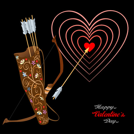 Arrows and heart as a target, greetings for lovers