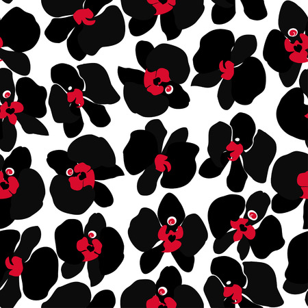 Black orchid isolated on white background, seamless repeating wallpaper tile  Illustration
