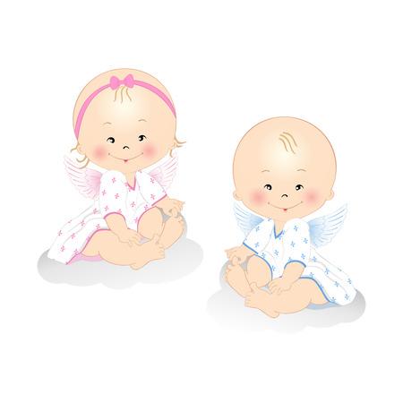 angeles bebe: Sonre�r angelitos ni�o y una ni�a aislada sobre fondo blanco Vectores