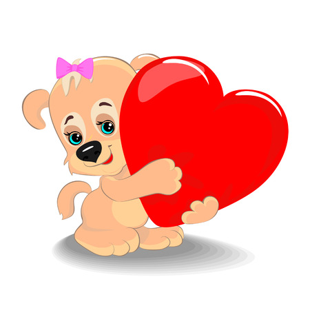 Cute puppy with a big heart as a symbol of love and friendship