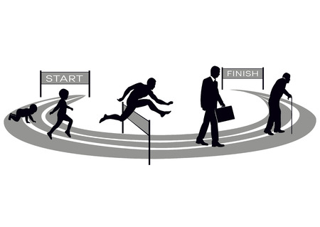 Stages of human development stylized treadmill with obstacle