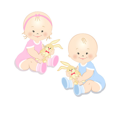 Little girl and boy holding a toy rabbit in hands, isolated on white background Illustration