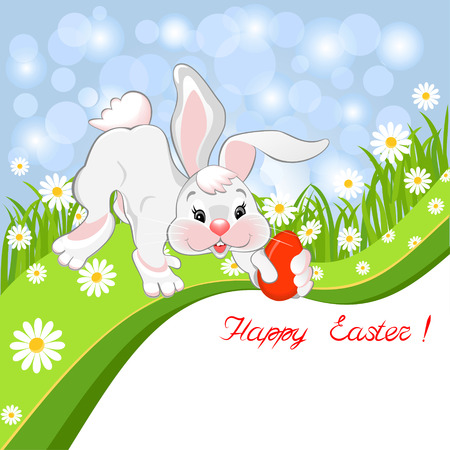 Easter greeting card with a rabbit and painted egg