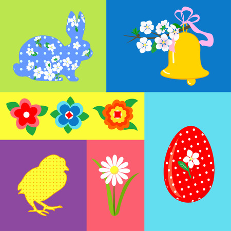 Easter set of retro vector elements, decorative elements, egg, rabbit, bell, chicken, flowers Illustration