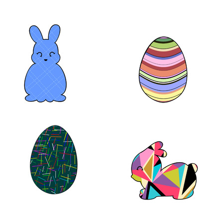 Set of silhouettes of rabbit and Easter eggs is in geometrical abstract style