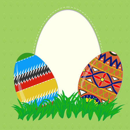 Greeting card with colored Easter eggs