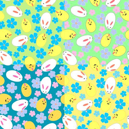 merrily: Seamless pattern con coniglietti di Pasqua, pulcini e fiori in quattro varianti di colore