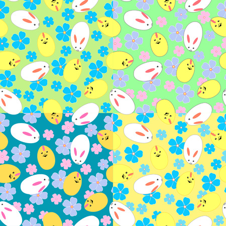 Seamless vector pattern with Easter bunnies, chicks and flowers in four color variations Illustration