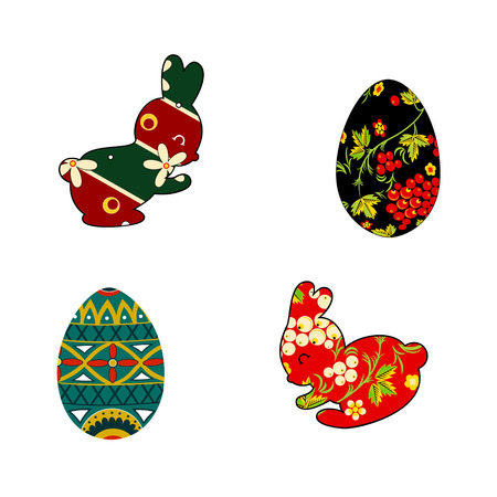 folklore: Set of silhouettes of rabbit and Easter eggs is in folklore style