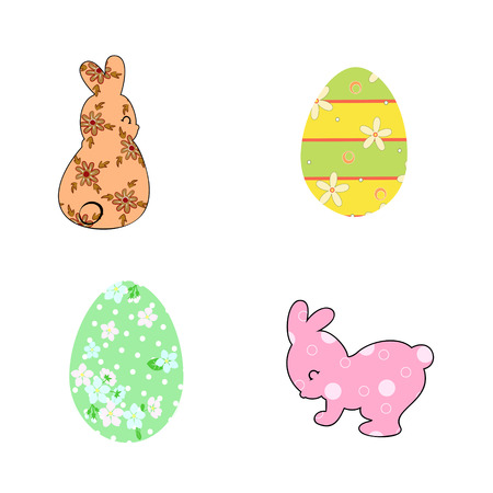 Set of Pastel Colored silhouettes of rabbit and Easter eggs Illustration