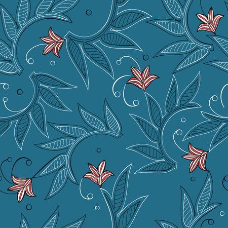 Seamless background with creeping plants and red striped flowers Illustration