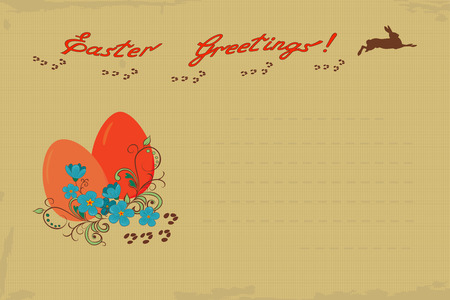 Retro Easter greeting card with a rabbit and  egg