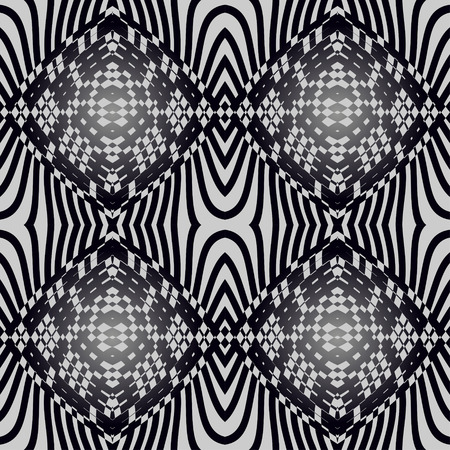 Seamless abstract pattern of geometric shapes in black and gray shades