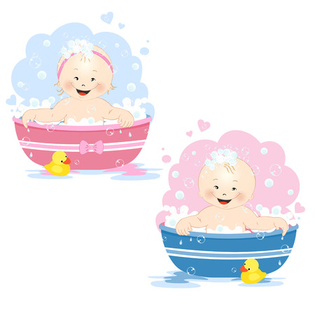 little girl bath: Cute little babies, girl and boy, taking a bubble bath Illustration