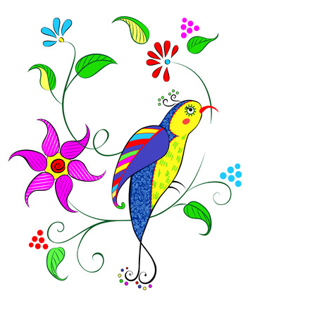 Decorative flowers with bright bird can be used as a greeting card Illustration