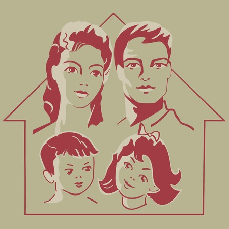 Family - parents and children face in retro style