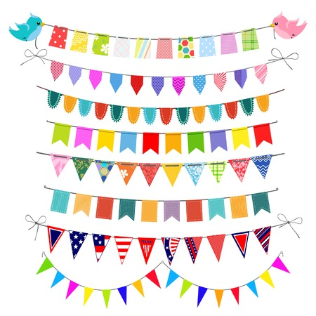 Set of festive bunting  traditional, american, children, textile. Easy to use, because each set is on a separate layer