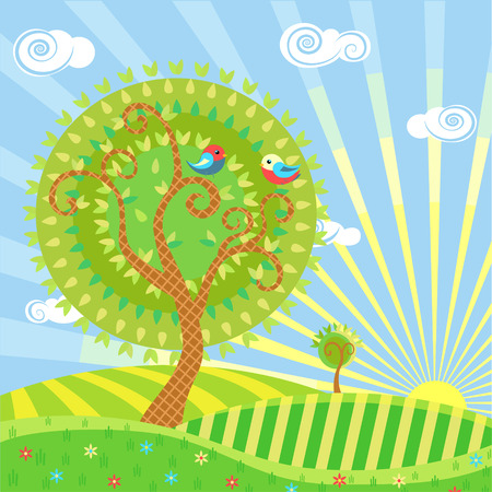 Stylized illustration of a summer landscape with trees, meadows, sun and birds Illustration