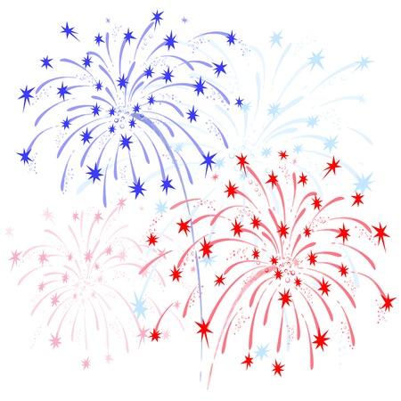 juli: Vector kleurrijk vuurwerk ter ere van Onafhankelijkheid op een witte achtergrond