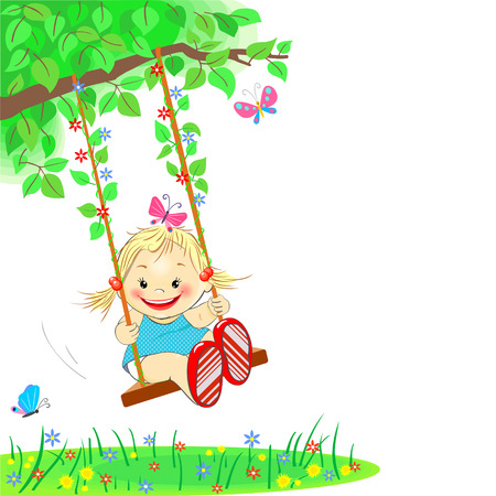 Funny little girl riding on a swing outdoors Illustration