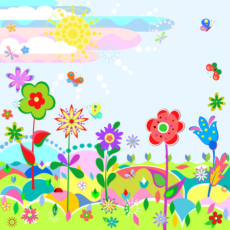 Stylized summer landscape with funny flowers and butterflies on a meadow Vector
