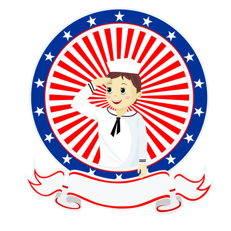 The boy seaman sailor saluting the American background Vector
