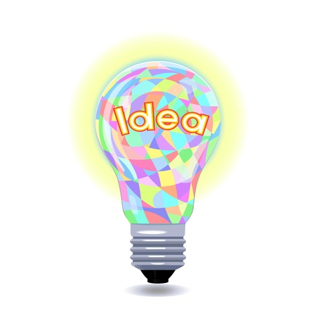 Idea as an colored lightbulb  Metaphor for ideas and inspiration  Illustration