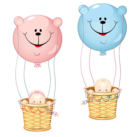 Kids Balloon Teddy Bears form isolated on white background Vector