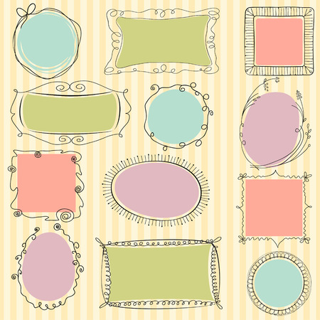 Set of cute doodle frames on striped background. Each frame is on a separate layer.