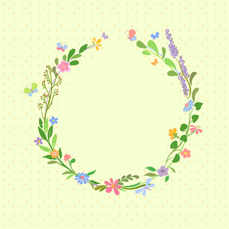 Summer frame with stylized flowers, leaves and butterflies. Background and frame are on separate layers.