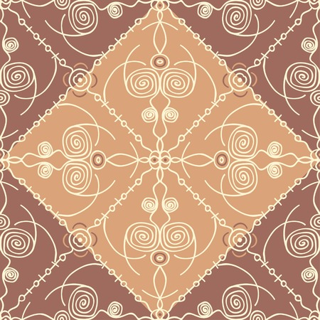 Hand drawn abstract geometric in oriental style seamless pattern Illustration